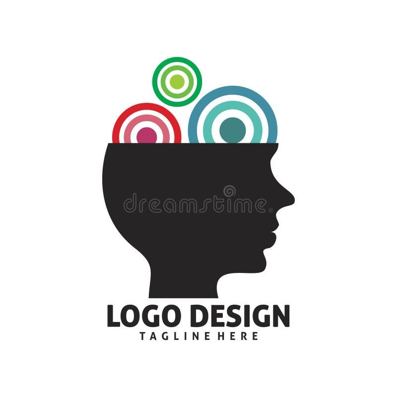 Дизайн логотипа склада ума иллюстрация штока