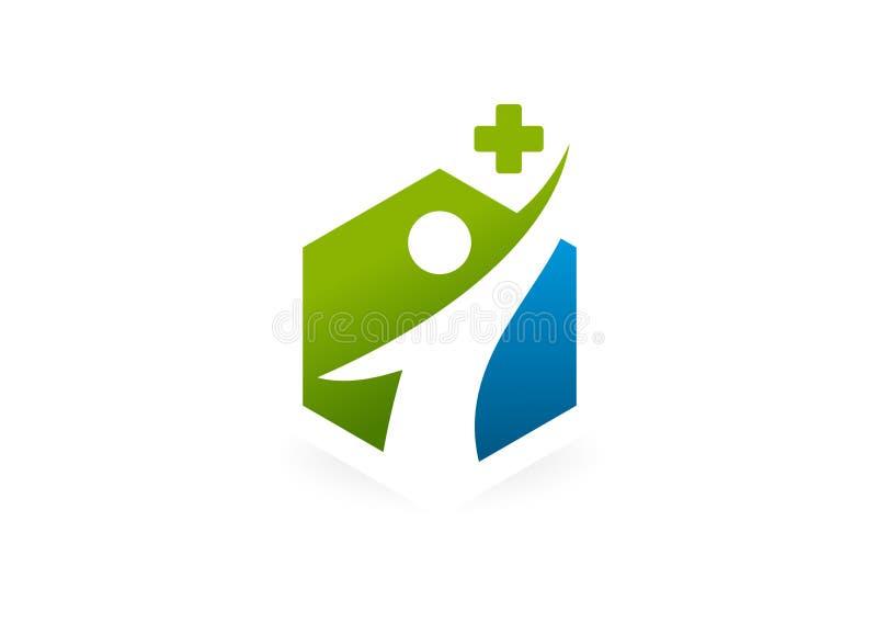 Дизайн логотипа тела перекрестной фармации здоровый бесплатная иллюстрация