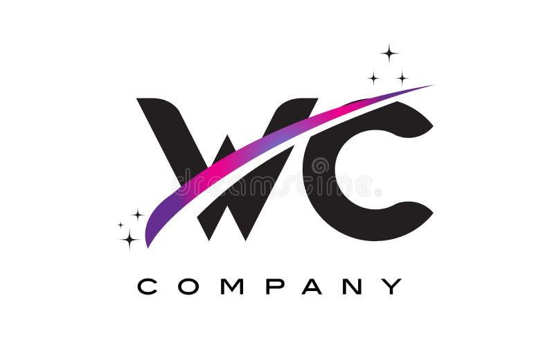 Дизайн логотипа черной буквы WC w c с фиолетовым magenta Swoosh иллюстрация штока
