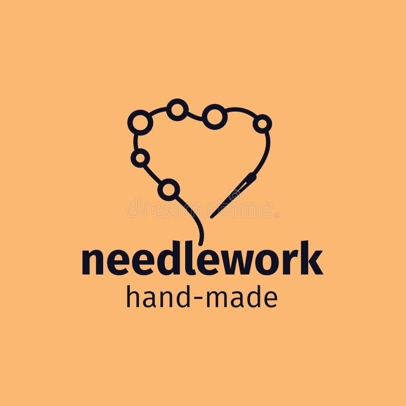 Дизайн логотипа Needlework handmade иллюстрация вектора
