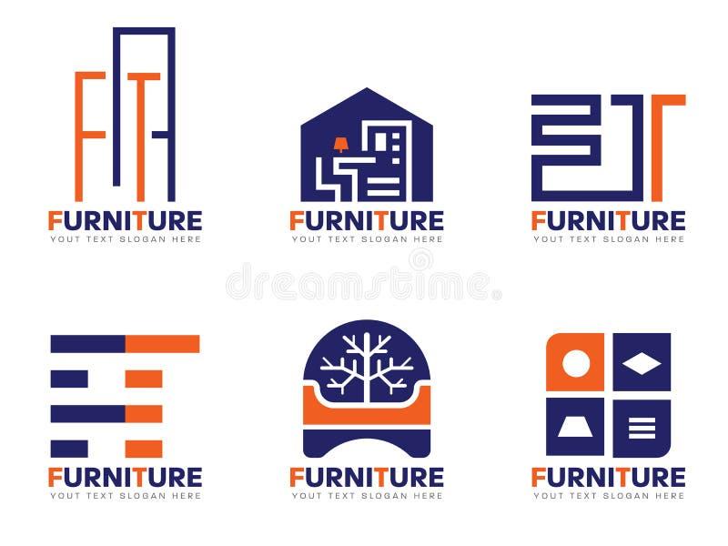 Дизайн оранжевого и голубого вектора логотипа мебели установленный бесплатная иллюстрация