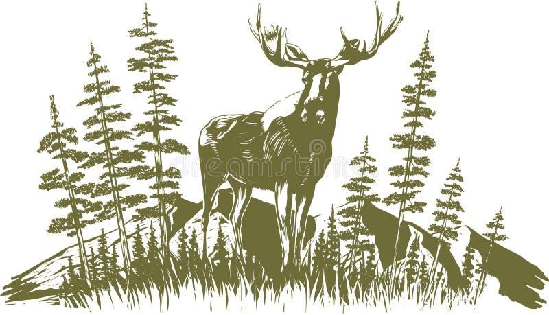 Дизайн лосей Woodcut бесплатная иллюстрация