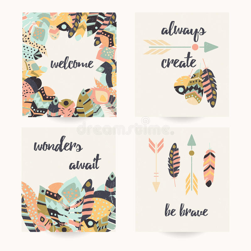 Дизайн открытки с вдохновляющей цитатой и богемскими красочными пер бесплатная иллюстрация
