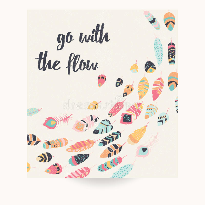 Дизайн открытки с вдохновляющей цитатой и богемским красочным иллюстрация штока