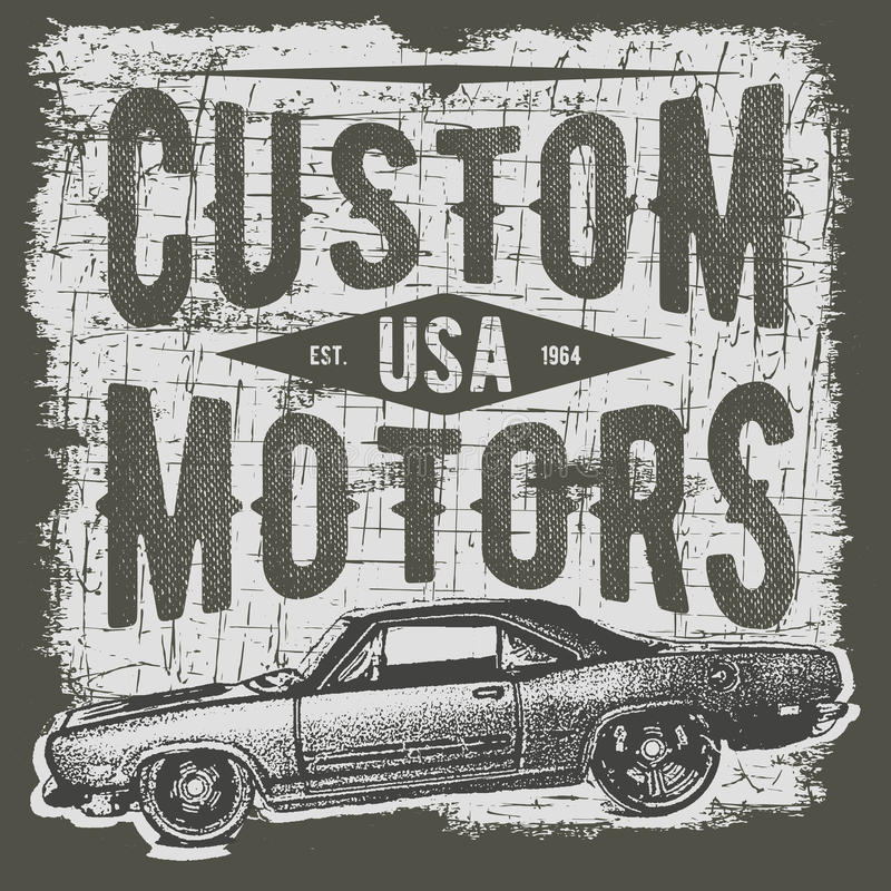 Дизайн оформления футболки, ретро вектор автомобиля, печатая графики, типографская иллюстрация вектора, винтажный графический диз бесплатная иллюстрация