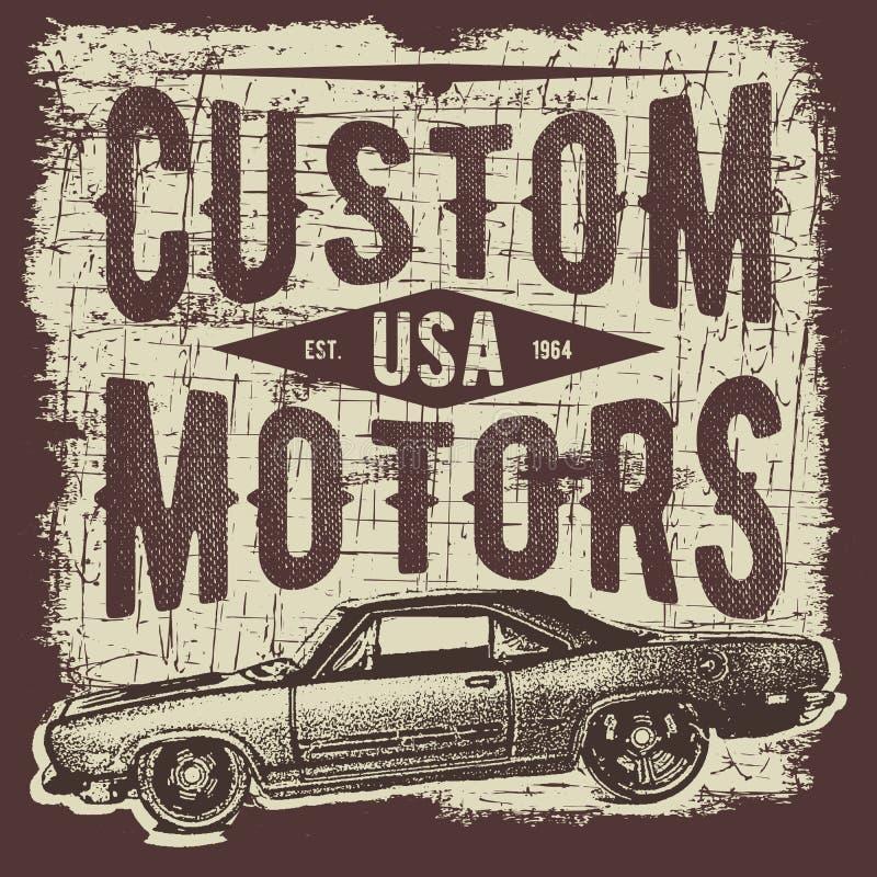 Дизайн оформления футболки, ретро вектор автомобиля, печатая графики, типографская иллюстрация вектора, винтажный графический диз иллюстрация вектора