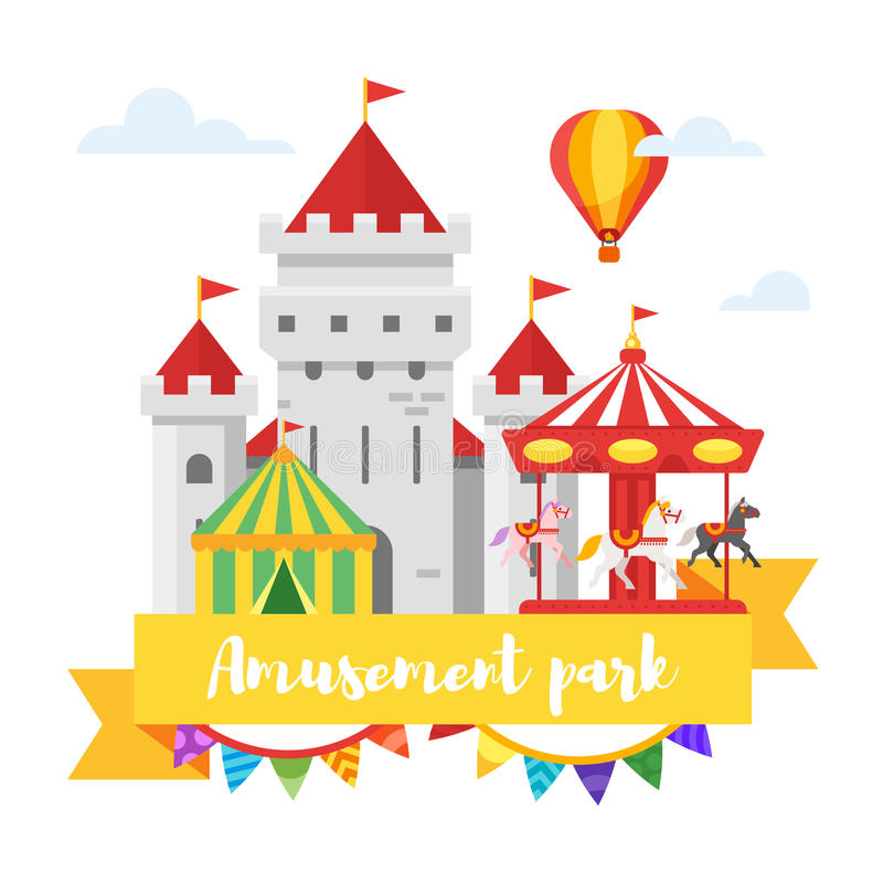Дизайн парка атракционов или ярмарки белизна изолированная предпосылкой бесплатная иллюстрация