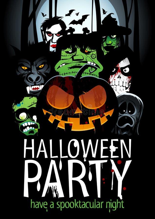 Дизайн партии хеллоуина с тыквой, зомби, оборотнем, смертью, ведьмой, вампиром иллюстрация вектора