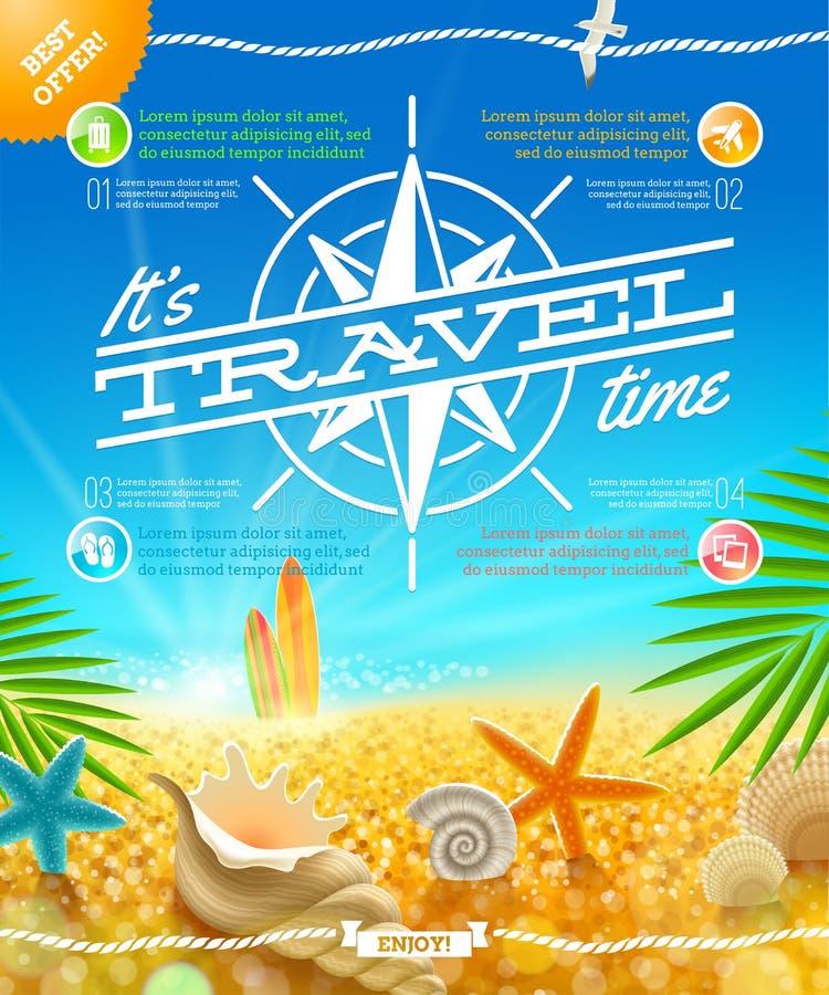 Дизайн перемещения и летних отпусков иллюстрация вектора