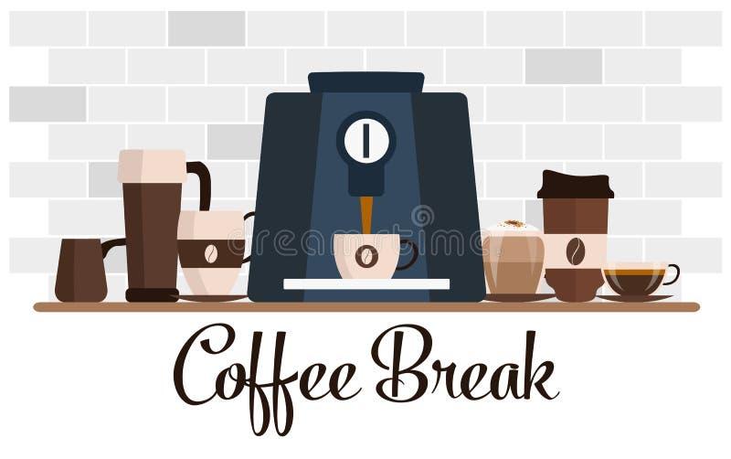 Дизайн перерыва на чашку кофе плоский Комплект чашки процесс подготовки фото машины выдержки espresso кофе длинний иллюстрация вектора