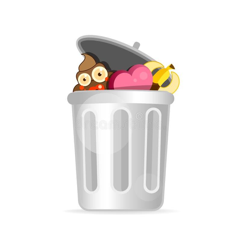 Дизайн персонажа из мультфильма мусорной корзины современный плоский r иллюстрация штока