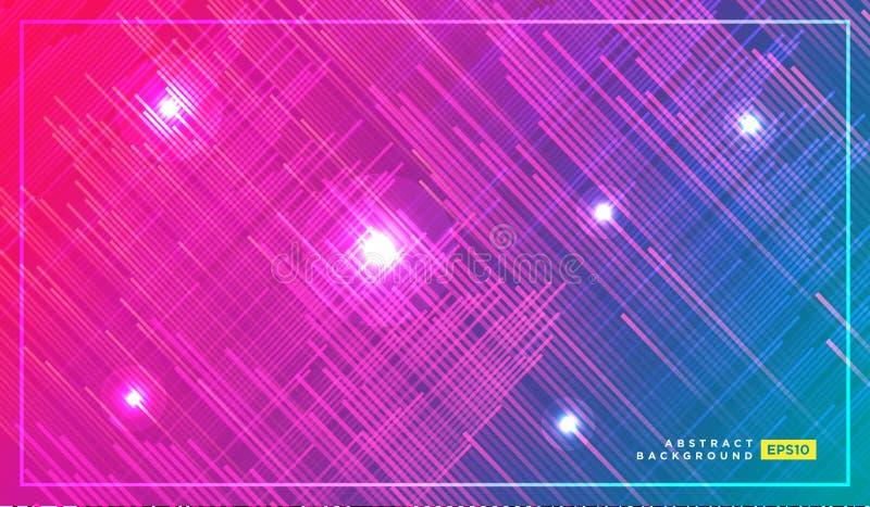 Дизайн печати моды техника с неоновыми нашивками и линиями Футуристическая предпосылка с трассировками двигать быстрые света Ярки иллюстрация штока