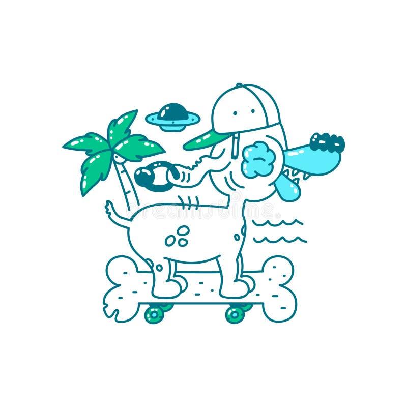 Дизайн печати футболки молодости Холодная собака в шляпе на косточке скейтборда едет на пляже пальма, ufo и море Illustrat doodle иллюстрация штока
