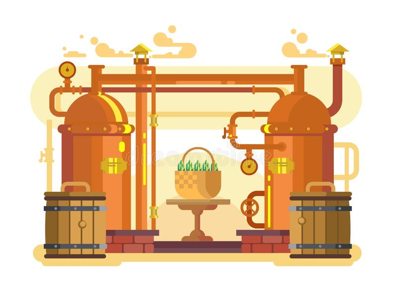 Дизайн пива винзавода плоско бесплатная иллюстрация