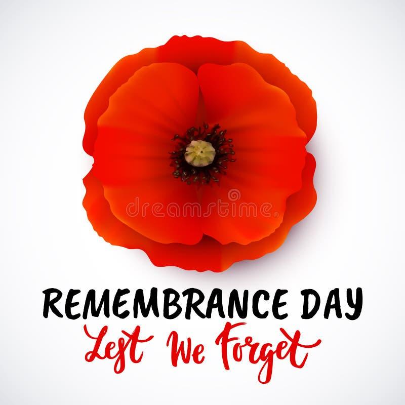 Дизайн плаката вектора дня памяти погибших в первую и вторую мировые войны с литерностью иллюстрация вектора