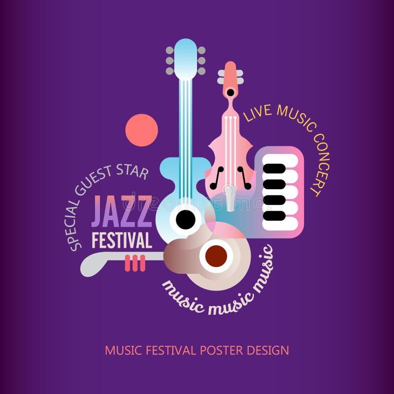 Дизайн плаката джазового фестиваля иллюстрация вектора