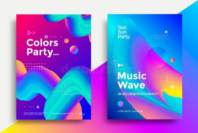Дизайн плаката партии волны музыки иллюстрация штока