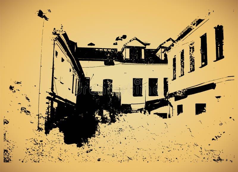 Дизайн плаката старого города типографский винтажный Старым предпосылка текстуры дома поцарапанная grunge вектор иллюстрации ретр иллюстрация вектора