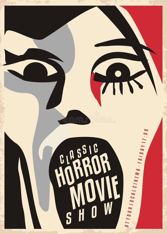 Дизайн плаката фильмов ужасов иллюстрация штока