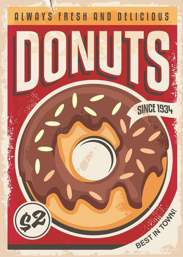 Дизайн плаката Donuts выдвиженческий ретро иллюстрация вектора