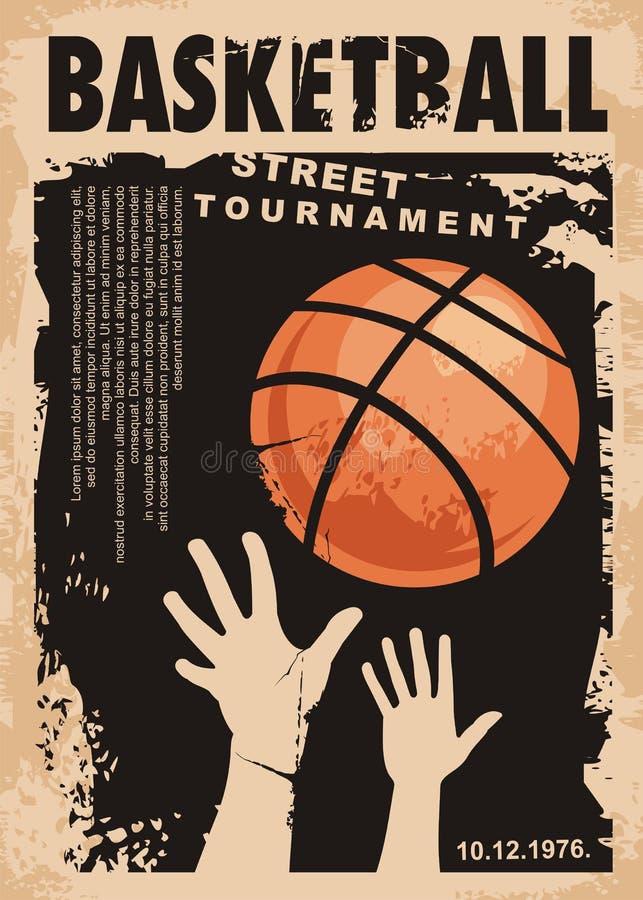 Дизайн плаката grunge баскетбола улицы иллюстрация вектора