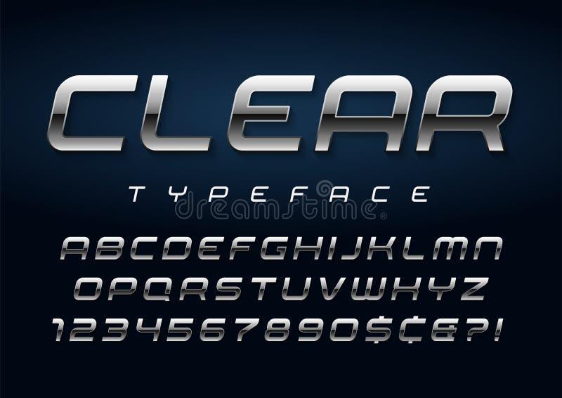 Дизайн плакатного шрифта вектора сияющий серебряный, алфавит, набор символов иллюстрация вектора