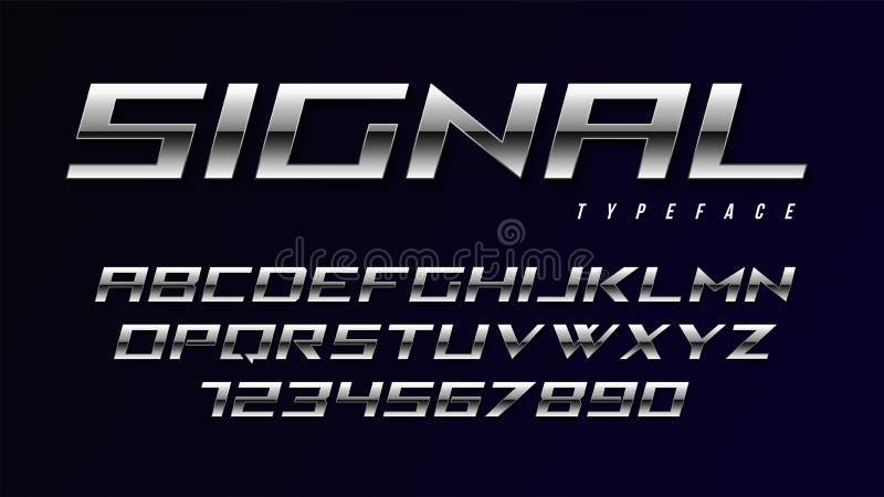 Дизайн плакатного шрифта вектора сияющий серебряный, алфавит иллюстрация вектора