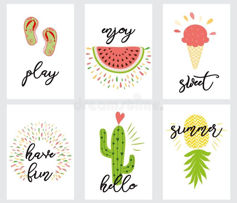 Дизайн плана лета, поздравительная открытка, книга крышки, знамя, плакат, дизайн шаблона, иллюстрация вектора иллюстрация вектора