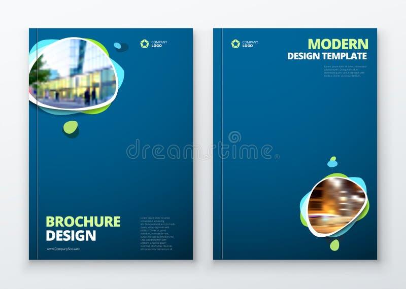 Дизайн плана шаблона брошюры Годовой отчет корпоративного бизнеса, каталог, кассета, модель-макет рогульки Творческое современное иллюстрация вектора