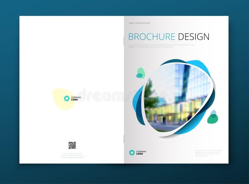Дизайн плана шаблона брошюры Годовой отчет корпоративного бизнеса, каталог, кассета, модель-макет рогульки Творческое современное иллюстрация штока
