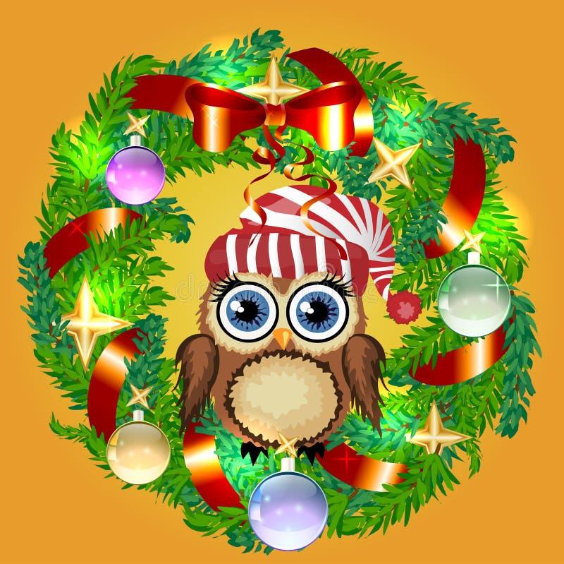 Дизайн поздравительной открытки желания веселого рождества сыча в шляпе Санта на гирлянде венка падуба Рождественская елка на сез иллюстрация штока