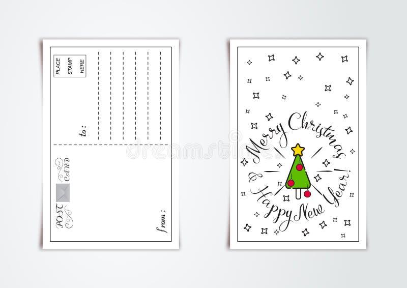 Дизайн поздравительной открытки Нового Года с стилизованной рождественской елкой и колоколами также вектор иллюстрации притяжки c иллюстрация вектора