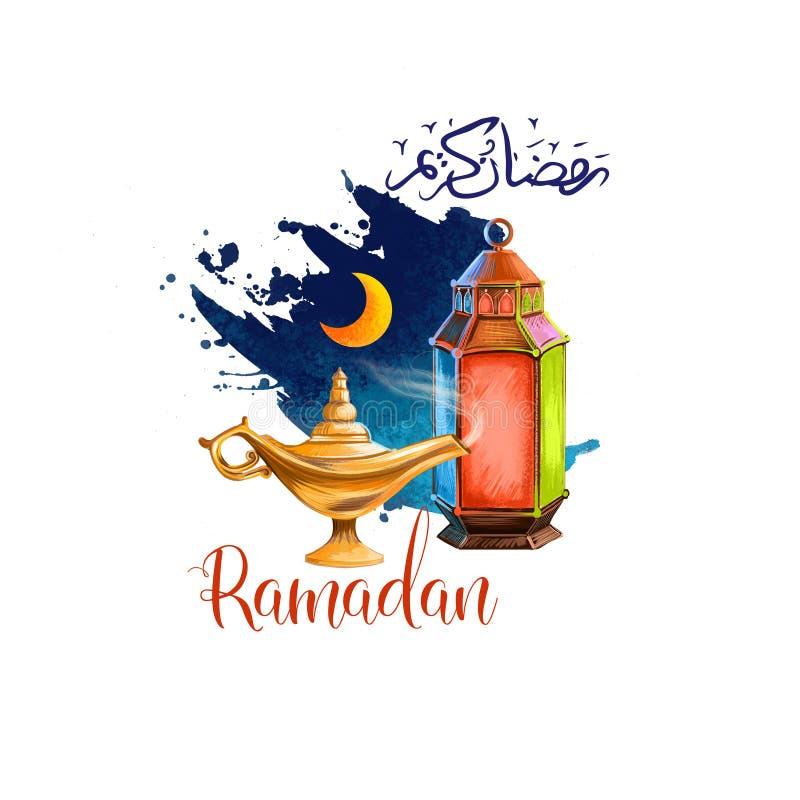 Дизайн поздравительной открытки праздника Рамазан Kareem Символы Рамазан Mubarak: Фонарик Рамазан, полумесяц, лампа, арабская кал иллюстрация штока