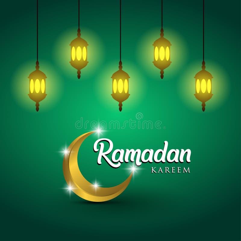Дизайн поздравительной открытки Рамазана Kareem с арабскими фонариками и золотым богато украшенным полумесяцем На зеленой предпос бесплатная иллюстрация