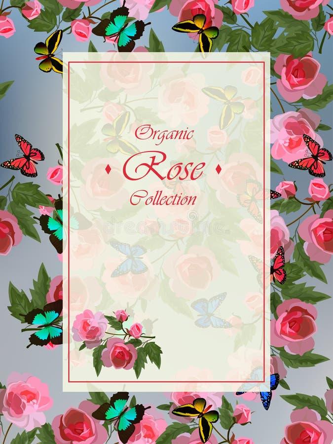 Дизайн поздравительной открытки свадьбы или с красными розами бесплатная иллюстрация