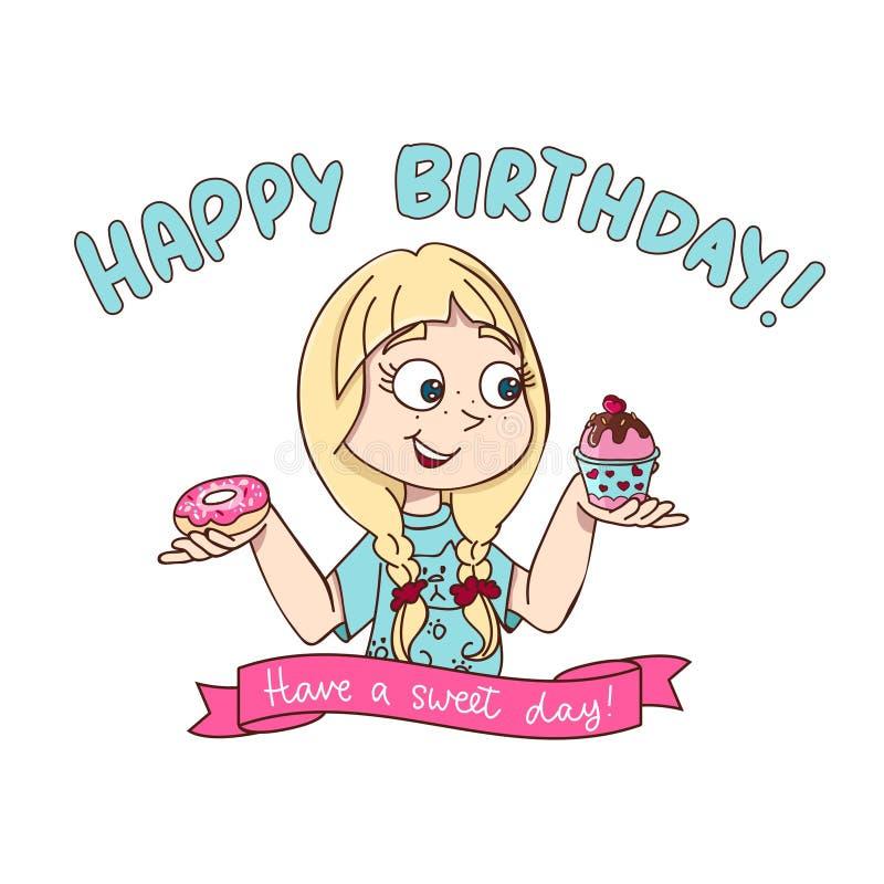Дизайн поздравительной открытки с днем рождений в стиле мультфильма с девушкой держа донут и пирожное Имейте сладкий дизайн дня р иллюстрация вектора