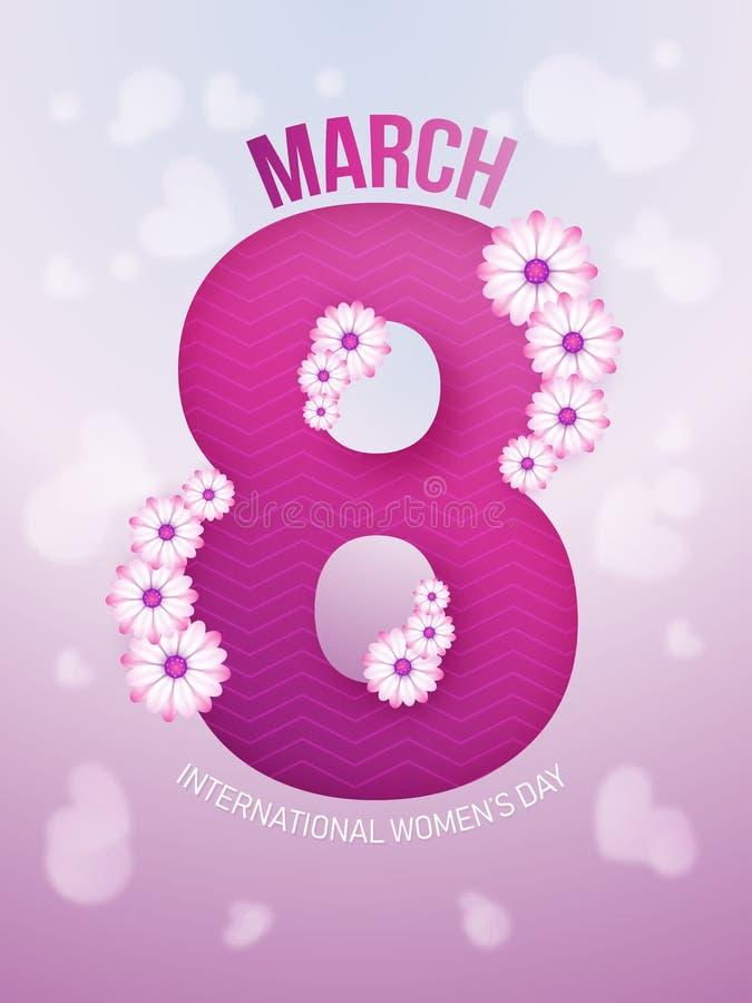 Дизайн поздравительной открытки шаблона или, текст 8-ое марта украсил с цветками на лоснистой запачканной предпосылке на Междунар иллюстрация вектора