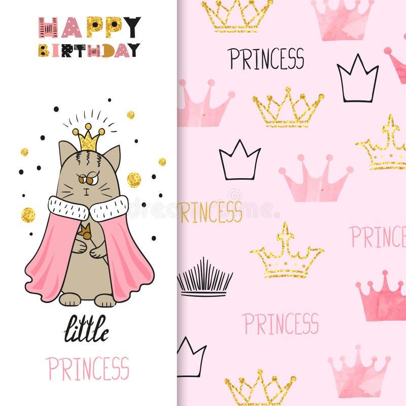 Дизайн поздравительной открытки дня рождения акварели для маленькой девочки иллюстрация штока