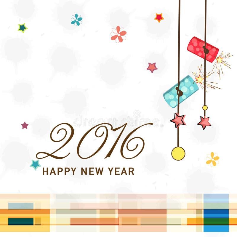 Дизайн поздравительной открытки для торжества 2016 Нового Года бесплатная иллюстрация