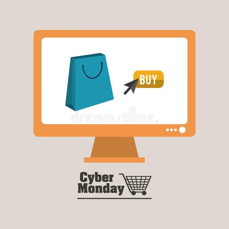 Дизайн понедельника кибер иллюстрация штока