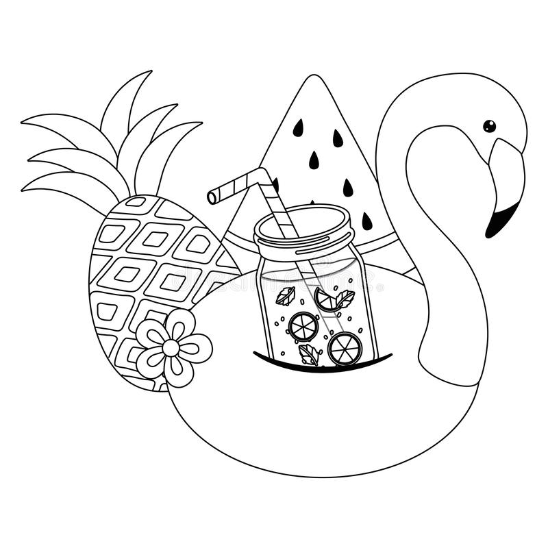 Дизайн поплавка фламинго лета и каникул бесплатная иллюстрация