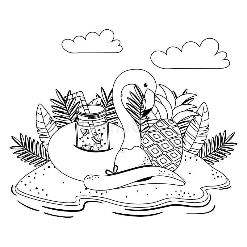 Дизайн поплавка фламинго лета и каникул иллюстрация штока