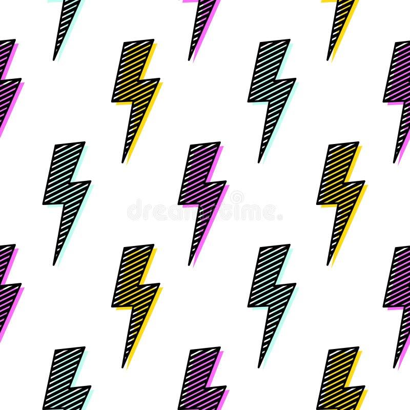 Дизайн потехи картины яркого удара молнии безшовный бесплатная иллюстрация