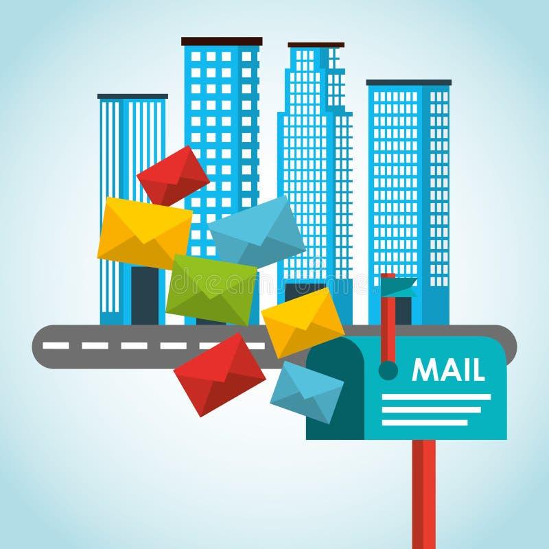 Дизайн почтового обслуживания столба иллюстрация вектора