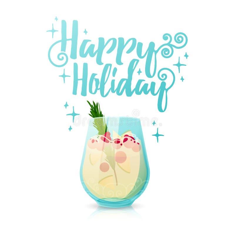 Дизайн праздника сезонного знамени рождества счастливого Шаблон плаката с коктеилем Нового Года Иллюстрация с a иллюстрация вектора