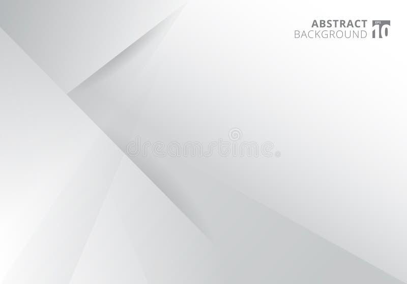 Дизайн предпосылки белого и серого цвета шаблона конспекта современный Геометрические треугольники с графиком тени бесплатная иллюстрация