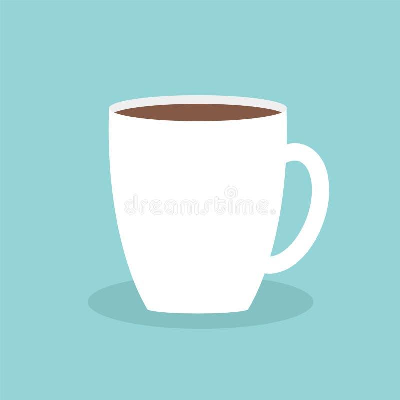 Дизайн предпосылки большой кружки кофейной чашки голубой плоско современный просто иллюстрация штока