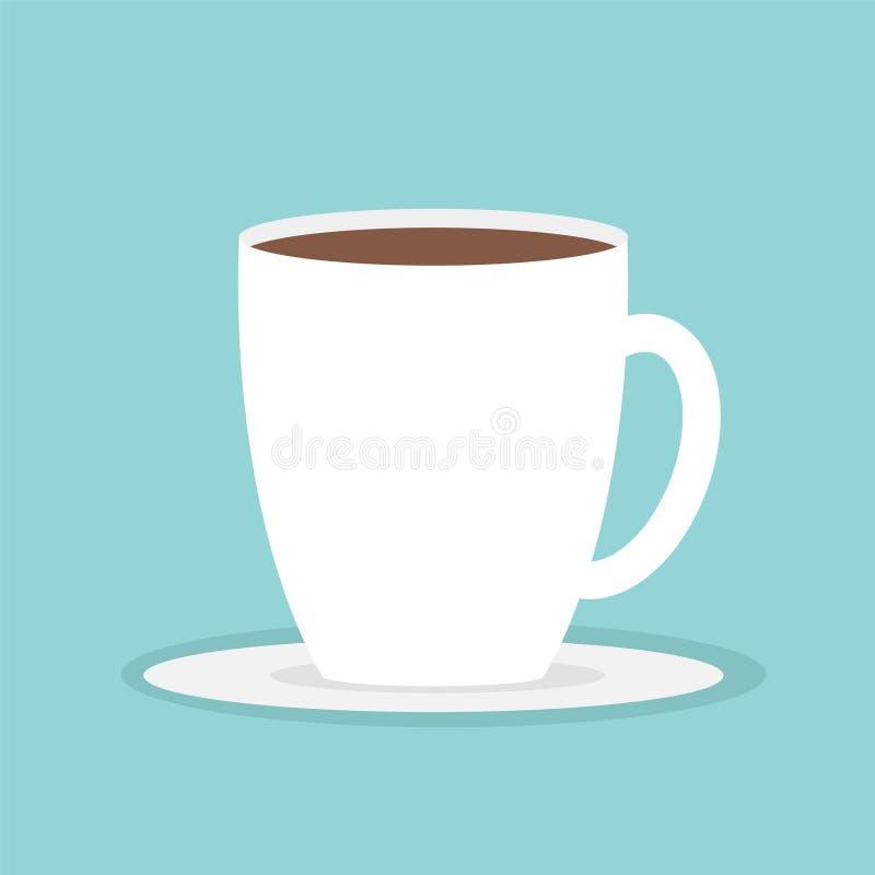 Дизайн предпосылки большой кружки кофейной чашки голубой плоско современный просто иллюстрация вектора