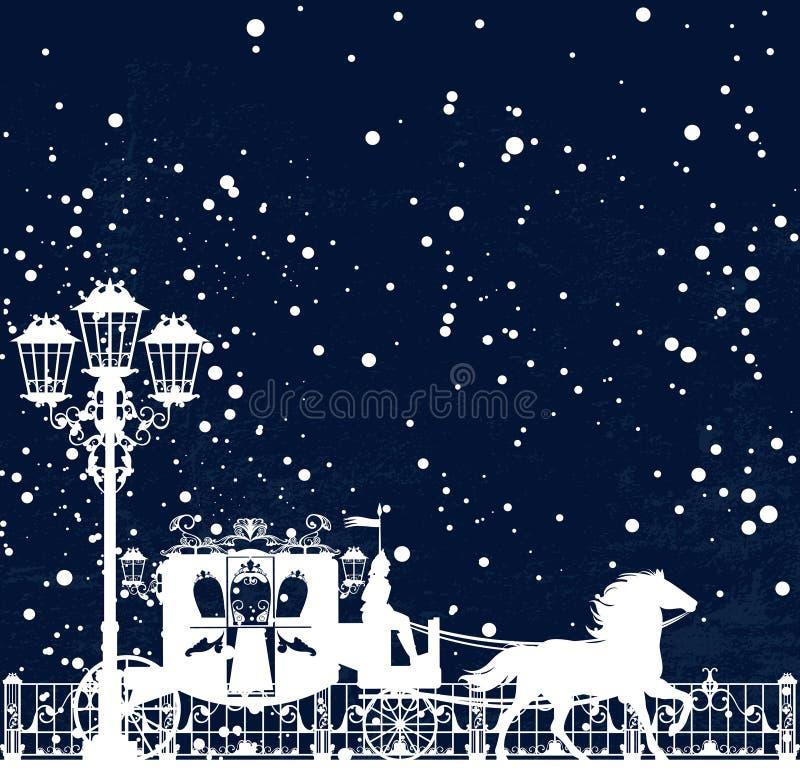 Дизайн предпосылки вектора экипажа сказки сезона зимы бесплатная иллюстрация