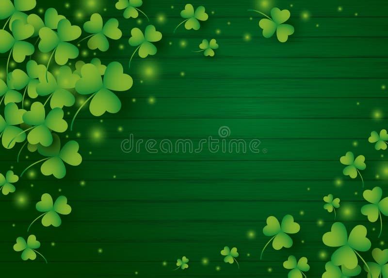 Дизайн предпосылки дня St Patricks клевера выходит бесплатная иллюстрация